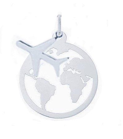 Pingente Mapa Mundi e Avião Prata 925
