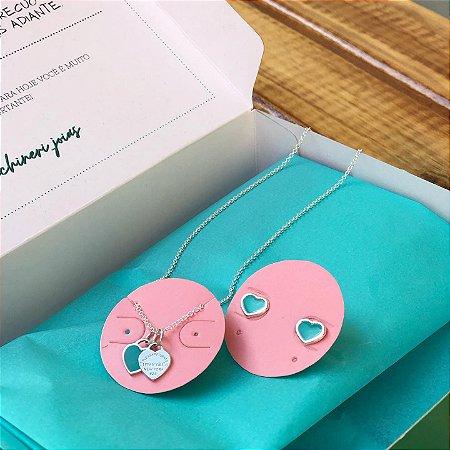 Colar Inspiração Tiffany + Brinco coração Turquesa