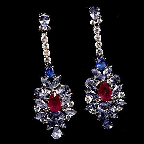 Brinco Tanzanita Pedra Azul Rubi Pedra Vermelha e Safira Preciosa Natural Legítima Prata com Ouro
