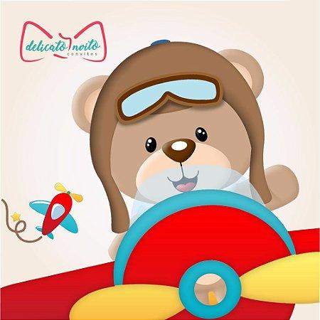 fff3695ba Convite Urso Aviador - Delicato Invito