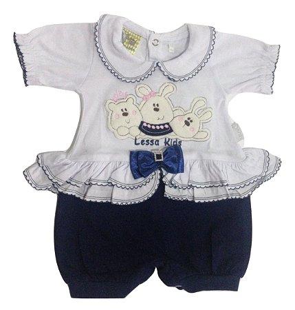 Macacão Meia Manga Bebê Menina Azul e Branco Malha