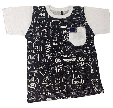 Camiseta Bebê Menino Preta com Estampa Manga Curta