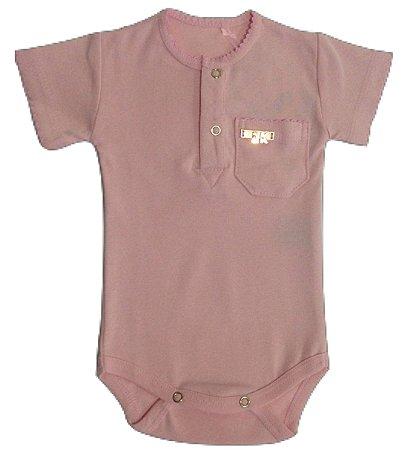 Body Bebê Menina Rosa Claro Manga Curta