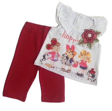 Conjunto Bebê Menina Vermelho Malha Regata Lessa Kids