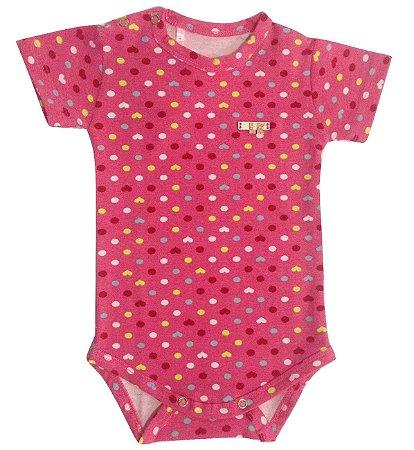 Body Bebê Menina Rosa de Malha Manga Curta