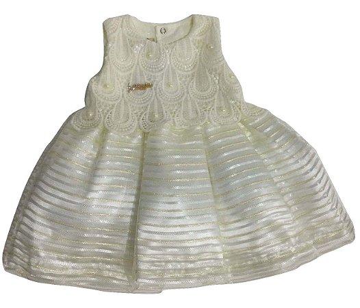 Vestido Bebê Menina Creme Regata
