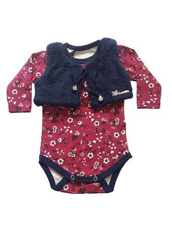 Body Bebê Menina Rosa com Bolero de Pelos Azul Manga Comprida