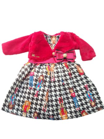 Vestido Bebê Menina Estampado com Bolero Rosa