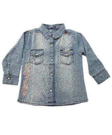Camisa Jeans Bebê Menina Azul com Bordado Manga Comprida