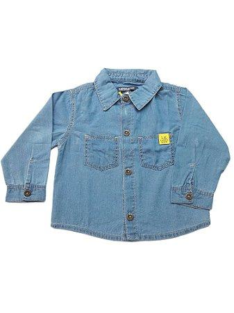 Camisa Jeans Bebê Menino Azul Manga Comprida