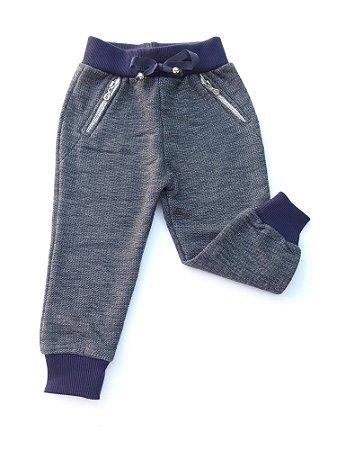 Calça Bebê Moletom Menino Cinza com Punho