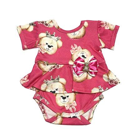 Body Bebê Menina Rosa com Estampa Manga Curta