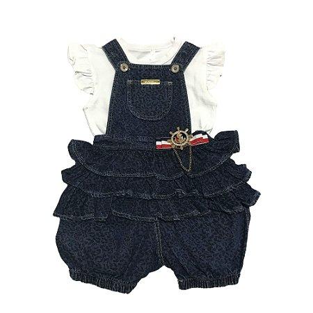 Jardineira Bebê Menina Jeans com Body Branco Manga Curta