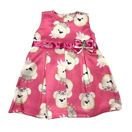 Vestido Bebê Menina Estampado Cetim Regata