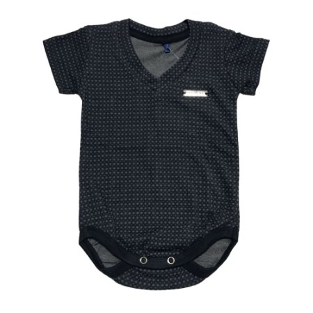 Body Bebê Menino Azul Marinho Manga Curta
