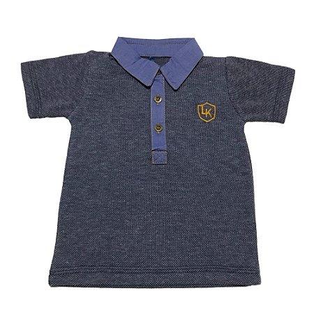 Camisa Polo Bebê Menino Azul Marinho Manga Curta