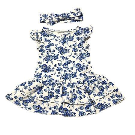 Vestido Bebê Menina Floral com Calcinha e Tiara Manga Curta