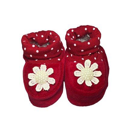 Sapatinho Bebê Menina Vermelho Flores