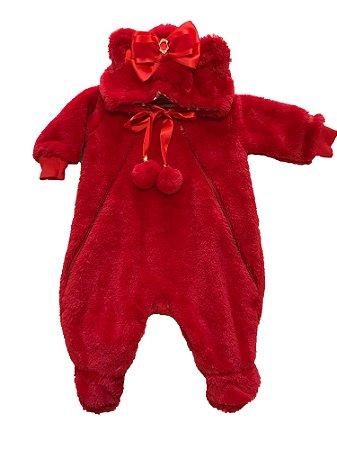 Macacão Bebê Menina Plush Vermelho Urso