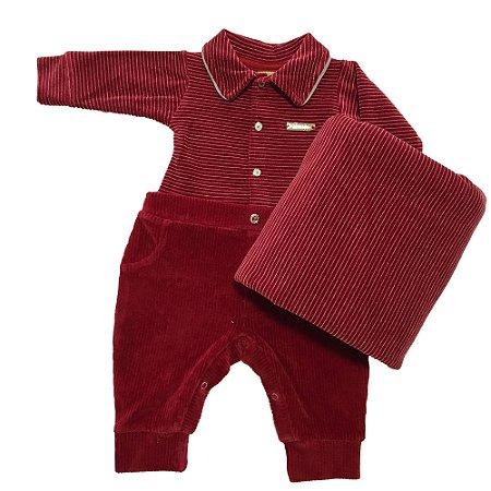 Saída de Maternidade Bebê Menino Vermelho Veludo e Plush