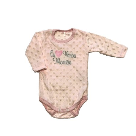 Body Bebê Menina Rosa Manga Comprida