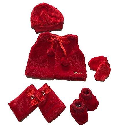 Colete Bebê Menina Vermelho Plush com Touca Polaina Luvas e Sapatinho