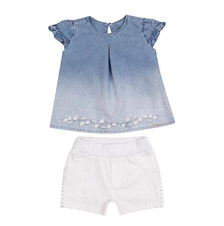 Conjunto Bebê Menina Bata Jeans com Shorts Color Paraiso