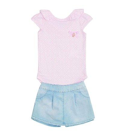 Conjunto Bebê Menina Body Rosa e Shorts Saia Jeans Paraíso