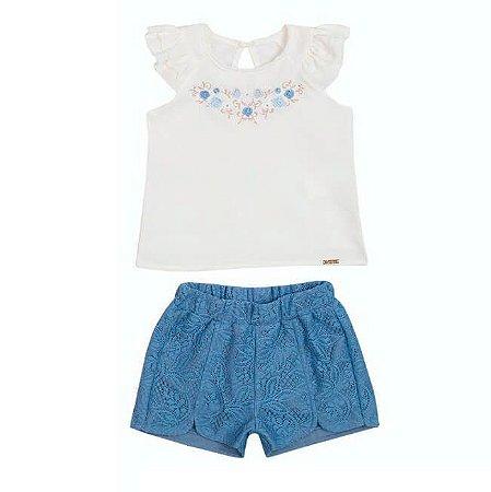 Conjunto Bebê Menina Blusa Crepe com Shorts de Renda Paraiso