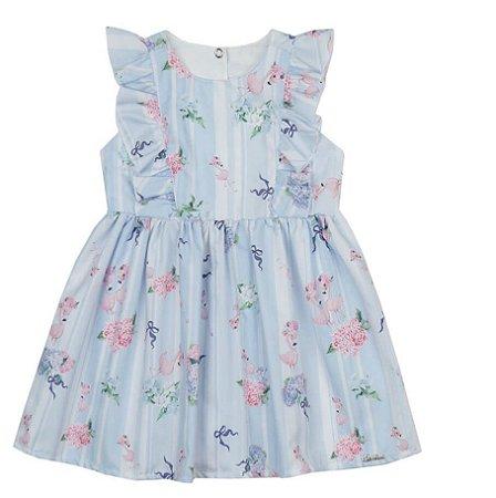 Vestido Bebê Azul Estampado Flamingos Paraiso