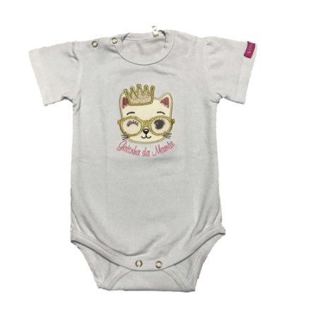 Body Bebê Menina Malha Branco com Bordado Lessa Kids