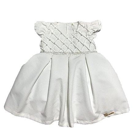 Vestido Bebê Branco Nervuras Lessa Kids