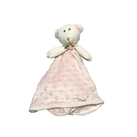 Toalha de Boca Bebê Plush Urso Rosa