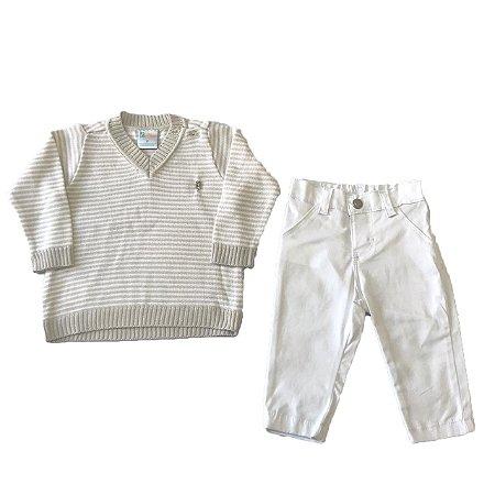 Conjunto Bebê Menino com Calça e Blusa Branco Paraiso