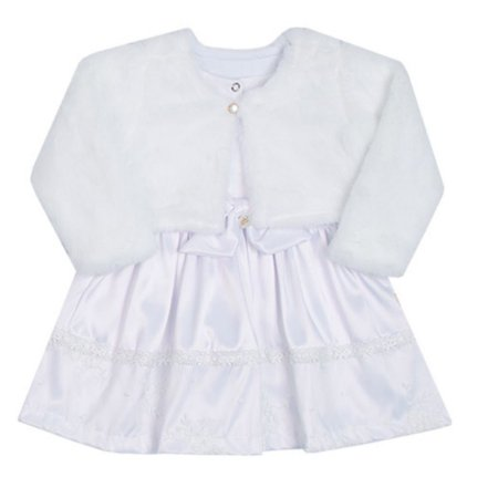 Vestido Bebê Menina Branco com Casaco de Pelos Paraiso