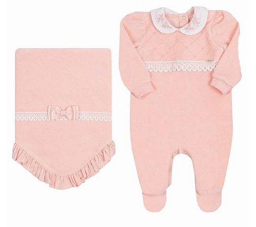 Saída de Maternidade Bebê Menina Plush Rosa Pêssego Paraiso