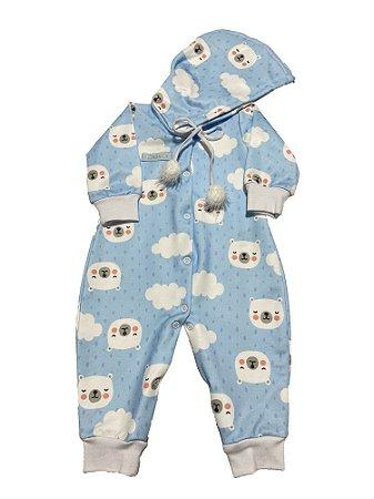 Macacão Bebê Menino Urso Azul Lessa Kids