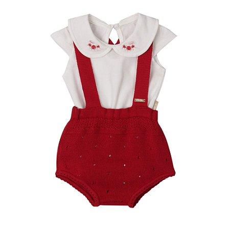 Conjunto Bebê Menina com Body em Malha e Shorts em Tricot Vermelho Paraíso