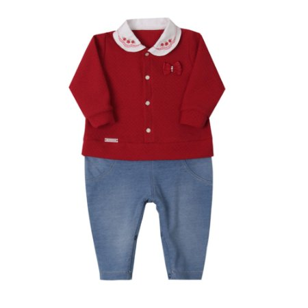 Macacão Bebê Menina Denim Jeans com Malha Tricot Vermelha Paraíso