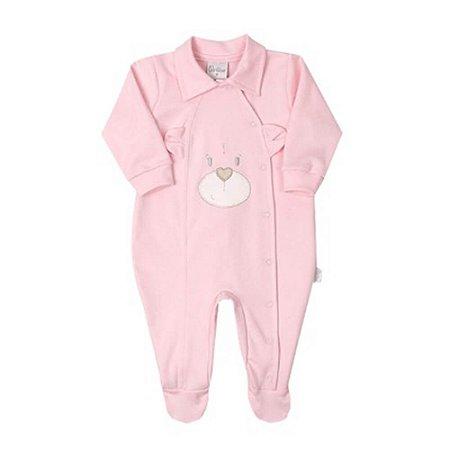 Macacão Bebê Menina Suedine Rosa Urso Paraíso