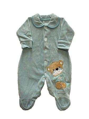 Macacão Bebê Menino Plush com Bordado Azul Lessa Kids