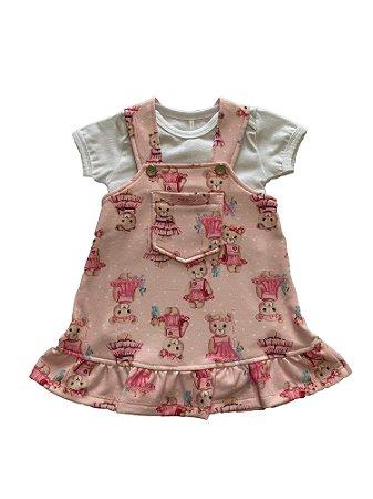 Vestido Bebê Menina com Body Rosa Estampado Lessa Kids