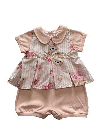 Macacão Bebê Menina Banho de Sol com Vestido Rosa Lessa Kids