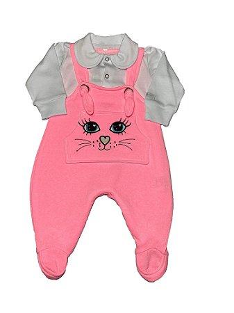 Macacão Bebê Menina Rosa Neon Lessa Kids