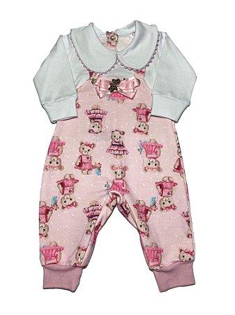 Macacão Bebê Menina Rosa Urso Lessa Kids