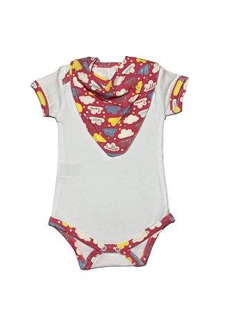 Body Bebê Menina em Malha com Bandana Nuvem Lessa Kids