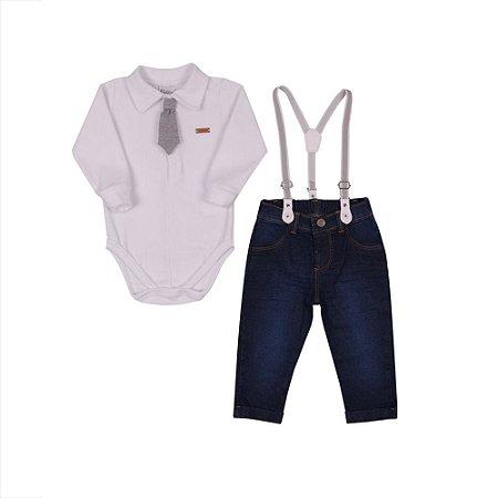 Conjunto Bebê Menino com Body em Plush e Calça Jeans e Suspensório Paraiso