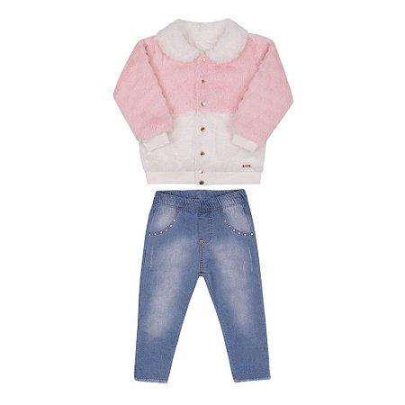 Conjunto Bebê Menina com Jaqueta de Pelos Rosa e Calça Jeans Paraíso