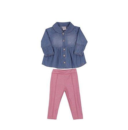 Conjunto Bebê Menina com Bata Jeans Colete de Pelo e Calça Suede Paraíso