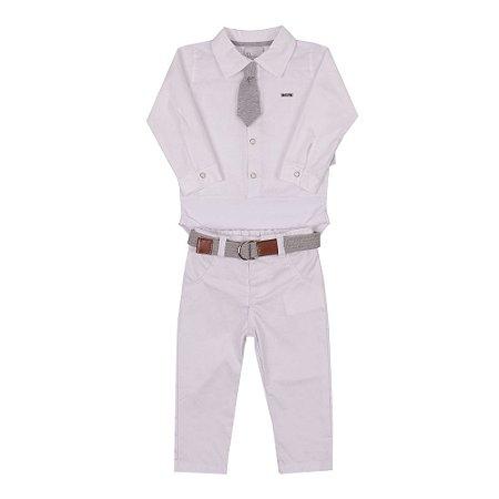 Conjunto Bebê Menino com Body Camisa e Calça de Sarja Branco Paraíso